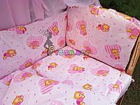 """Постельный набор в детскую кроватку (8 предметов) Premium """"Мишки в пижамке"""" нежно-розовый"""