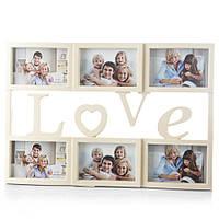 """Фотоколлаж """"Love"""" на 6 фотографий (50x34 см) беж"""