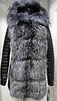 Куртка- жилет из эко-кожи трансформер с чернобуркой и капюшоном на синтепоне длина 75см 44р 46р 48р 50р 52р