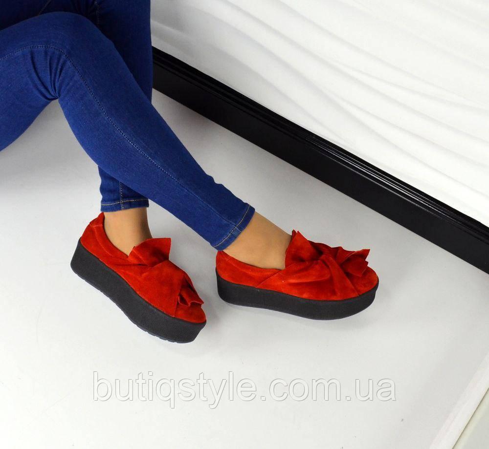 Только 40 размер! Слипоны женские MoLLy замшевые красные