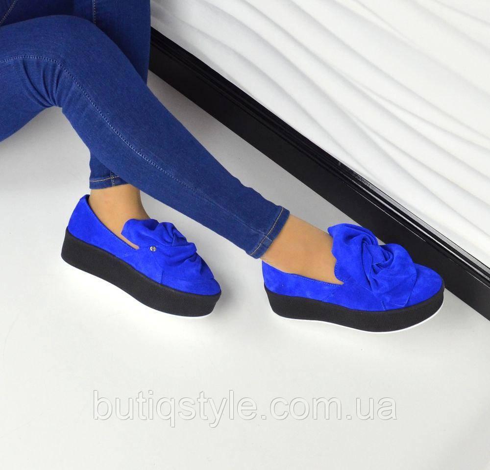 Только 37 размер!Слипоны женские MoLLy замшевые синие