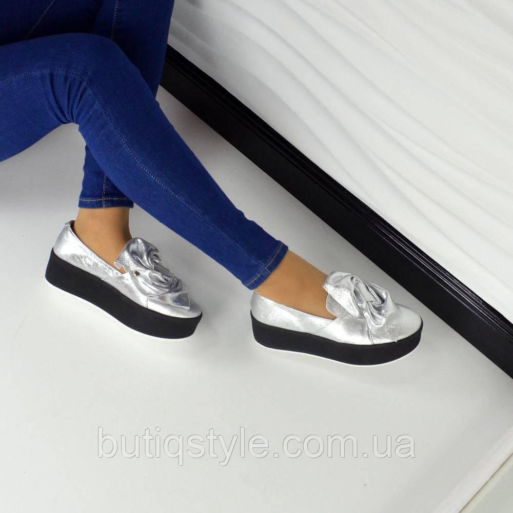 36 размер! Слипоны женские MoLLy кожаные серебро