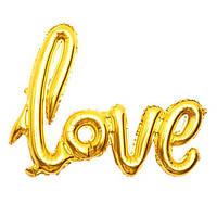"""Шар свадебный золотой в форме букв """"LOVE"""" фольгированный , 45 см."""