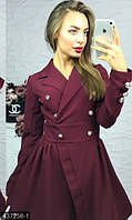 Оригинальное женское платье на запах приталенного фасона с пышной юбкой рукав длинный барби