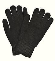 Перчатки мужские трикотажные черные - длина 23 см