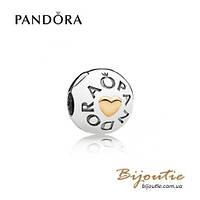 Pandora Шарм-клипса СЕРДЦЕ PANDORA #796219 серебро 925 золото 14к  Пандора оригинал