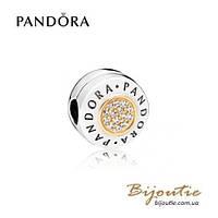 Pandora Шарм-клипса С ЛОГОТИПОМ PANDORA #796229CZ серебро 925 золото 14к  Пандора оригинал