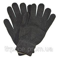 Подростковые трикотажные перчатки черные - длина 21 см