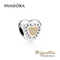 Pandora Шарм СЕРДЦЕ С ЛОГОТИПОМ PANDORA #796233CZ серебро 925 золото 14к  Пандора оригинал