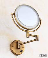 Art Design Зеркало косметическое настенное Deco Бронза с подсветкой