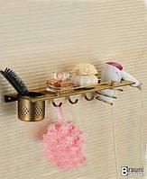 Полка для ванны с крючками и держателем для фена бронза 54698