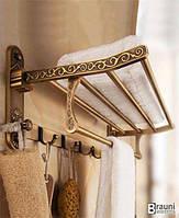 Полка для полотенец в ванную с крючками под бронзу Star 904 бронза