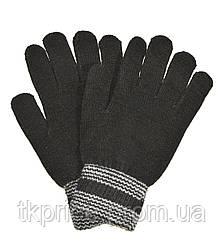 Подростковые трикотажные перчатки черные - длина 22 см