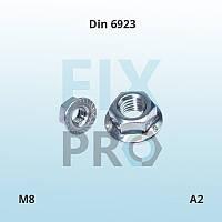 Гайка нержавеющая шестигранная с фланцем Din 6923 M8 A2