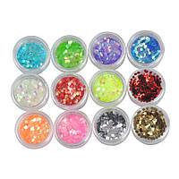 Набор паетки-соты (чешуя) для дизайна ногтей Beauty sky, цветные 12 шт