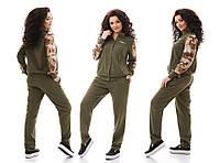 """Льняной женский спортивный костюм """"Military"""" с карманами (большие размеры)"""