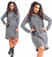 Повседневное женское платье большого размера с длинным рукавом с капюшоном с асимметричным подолом