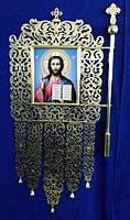 Церковная хоругва в новом стиле с квадратными иконами