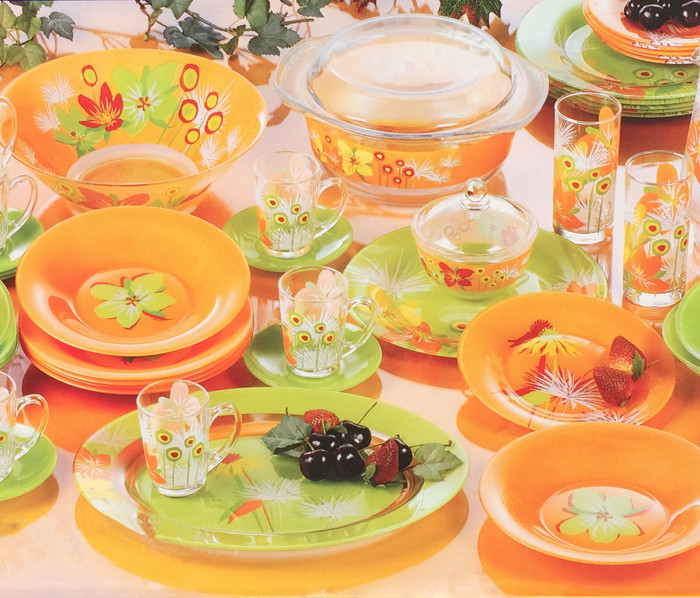 Pop Flower Mix Green & Orange Сервиз столовый 46 пр. Luminarc N5207