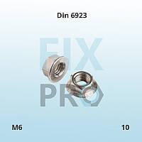 Гайка шестигранная с фланцем Din 6923 M6 класс прочности 10