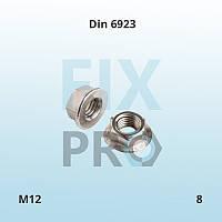 Гайка шестигранная с фланцем Din 6923 M12 класс прочности 8