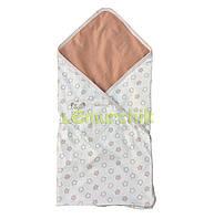 """Конверт-плед для новорожденных легкий на выписку и в коляску """"Звездочка"""" беж-коричневый"""