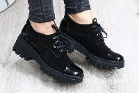 Туфли замшевые на тракторной подошве черные
