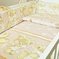 """Комплект постельного белья в кроватку для новорожденных """"Ведмедик"""" бортики с двух частей"""