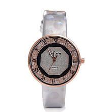 Часы перламутровый ремешок белые 078-1