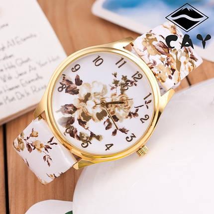 Часы наручные женские GENEVA в цветах (бежевые Розы), фото 2