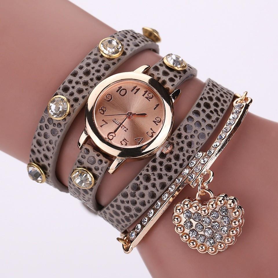 Часы-браслет длинные, наматывающиеся на руку Пепельные 089-2