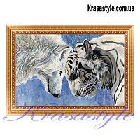 Алмазная вышивка Волк с тигром 5D