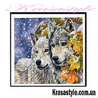 Алмазная вышивка Волки осенью 5D
