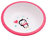 Тарелка-миска пластиковая с нескользящим дном Пингвин, с розовым ободком, Canpol babies