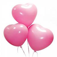 """Воздушные латексные шарики - Розовые сердца 11"""" (28 см), 100 штук"""