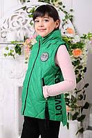 Детская демисезонная жилетка для девочки подростка, зеленая, р.116-140