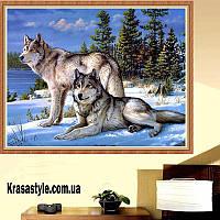 Алмазная вышивка Волки в снегу 5D