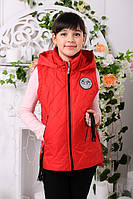 Детская демисезонная жилетка для девочки подростка, красная, р.134,140