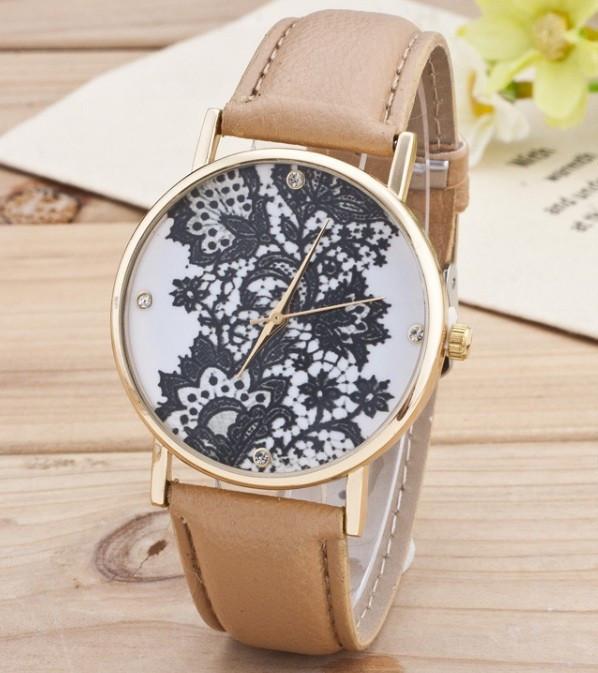 Часы Женева Geneva Кружево темно-бежевый ремешок