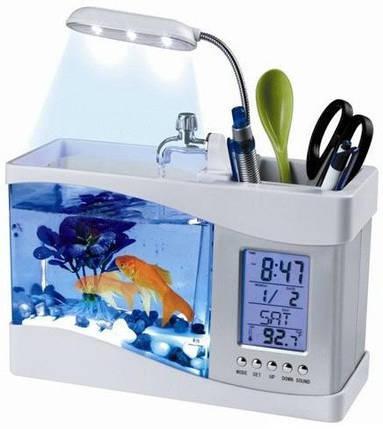 Настольный USB-аквариум с часами и термометром, фото 2