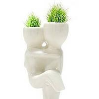 Травянчик керамический двойной белый. На руках