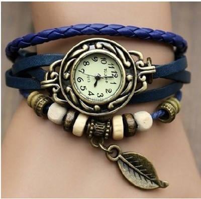 Часы-браслет с подвеской листик синие, фото 2