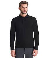 Поло мужская с длинным рукавом (тенниска поло,рубашка поло, футболка поло) цвет черный