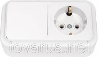 Выключатель одноклавишный + розетка с заземляющим контактом открытой установки