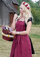 "Фартук льняной  "" Кэтрин "" цвет бургунди"
