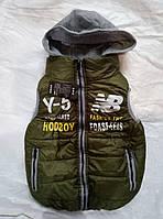 Жилетка детская демисезонная с трикотажным капюшоном для мальчика 6-8лет,цвет хаки, фото 1