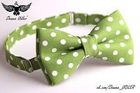 Галстук-бабочка горох бело-зеленый, фото 1