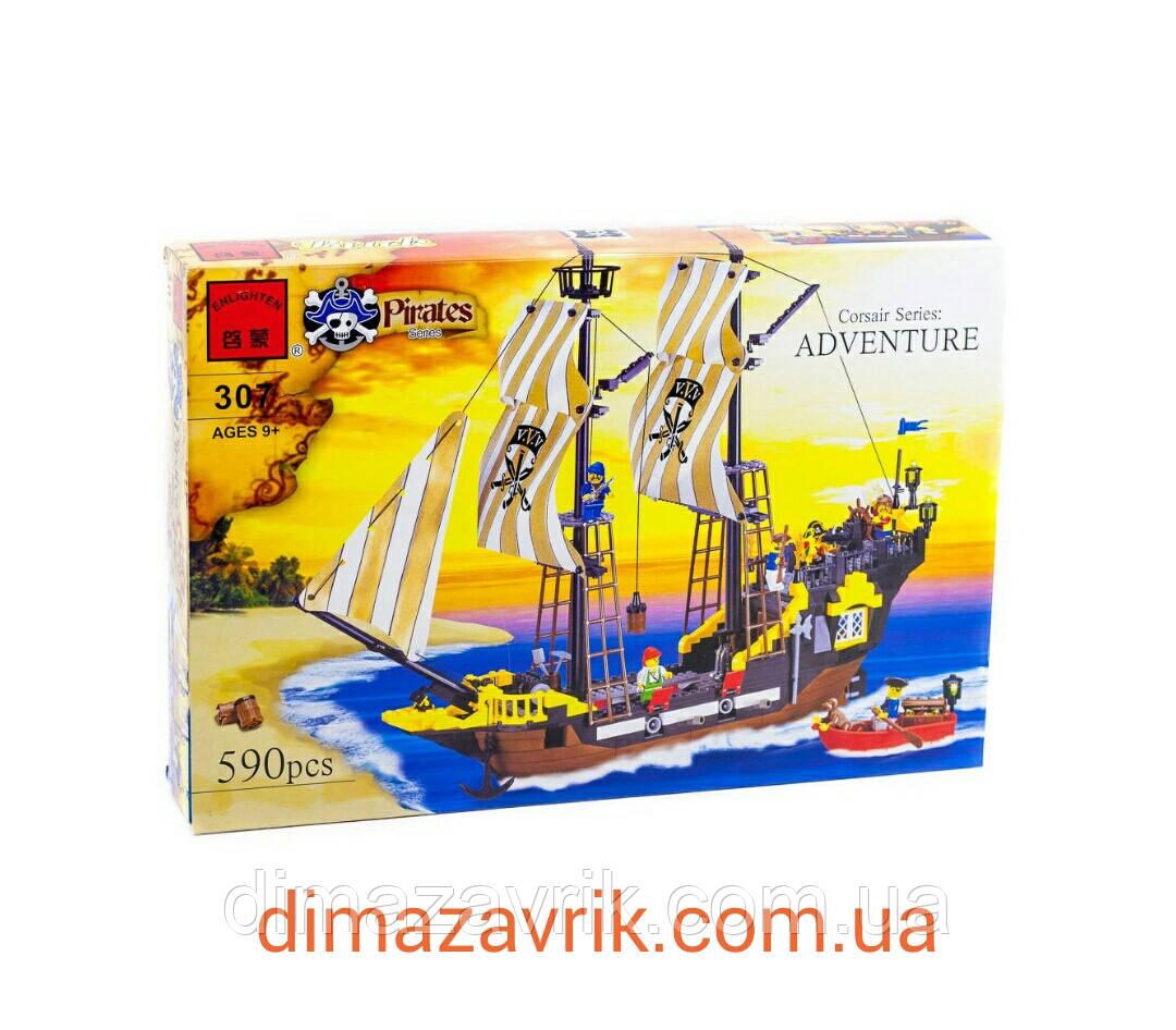 """Конструктор Brick 307 """"Пиратский корабль"""" 590 деталей"""