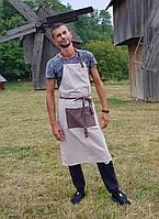Фартук мужской , св-серый с коричневым карманом