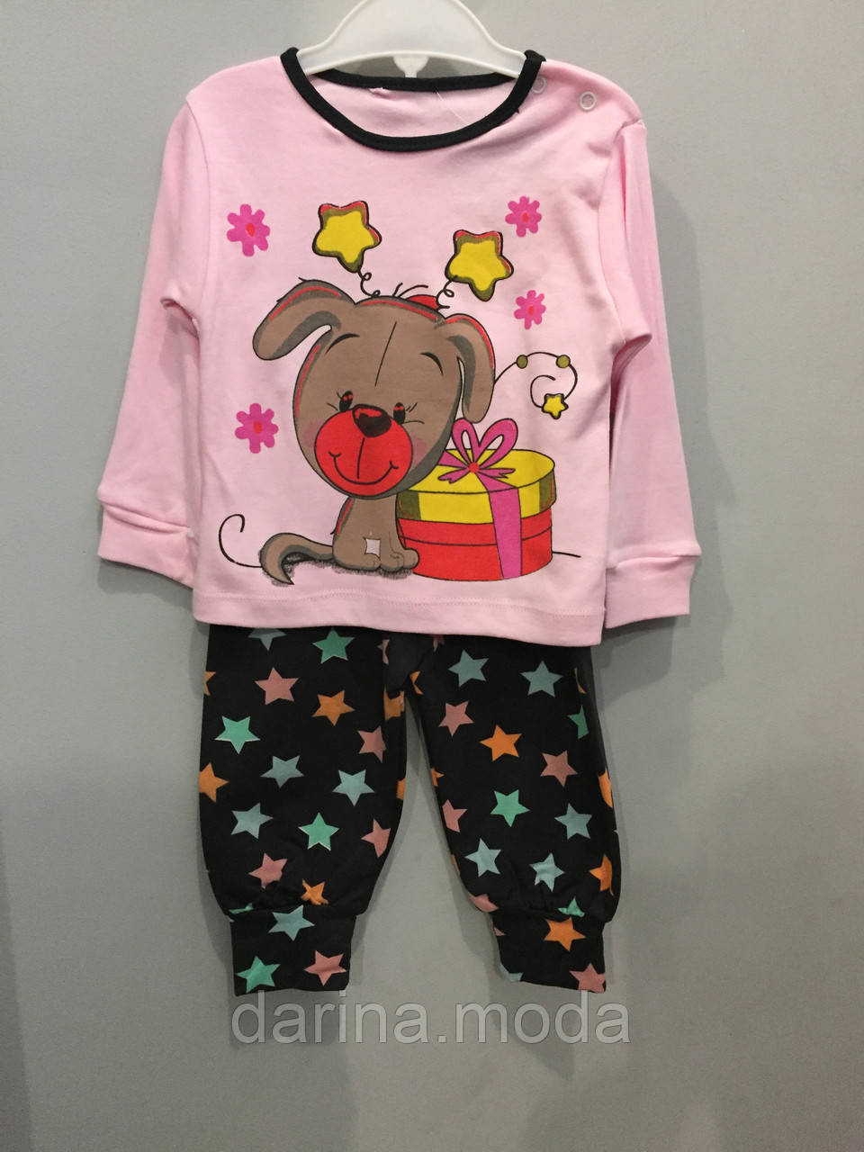 Трикотажный костюм с собачкой для девочки